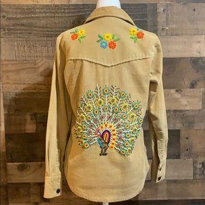 Vintage 70s Beaded Peacock & Flower Corduroy Shirt